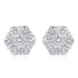 RHAPSODY 950 Platinum IGI Certified Diamond (Rnd) (E-F/VS) Floral Stud Earrings (with Screw Back) 0.750 Ct.