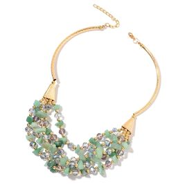 Green Aventurine, Simulated Mystic Topaz and Simulated Golden Pearl Multi Row Necklace (Size 18 with 5 inch Extender) in Yellow Gold Tone