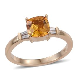 ILIANA 18K Yellow Gold 1.90 Carat AAA  Yellow Sapphire Cushion Ring, Diamond SI G-H.