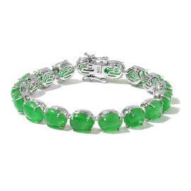 Green Jade (Ovl) Dragon Bracelet (Size 6.5) in Platinum Overlay Sterling Silver 32.250 Ct.