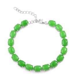 Green Jade (Ovl) Dragon Bracelet (Size 8) in Platinum Overlay Sterling Silver 42.500 Ct.