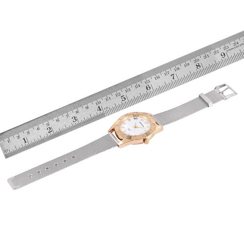 STRADA Japanese Movement White Dial White Austrian Crystal Water Resistant Watch in Gold Tone with Stainless Steel Back and Chain Strap