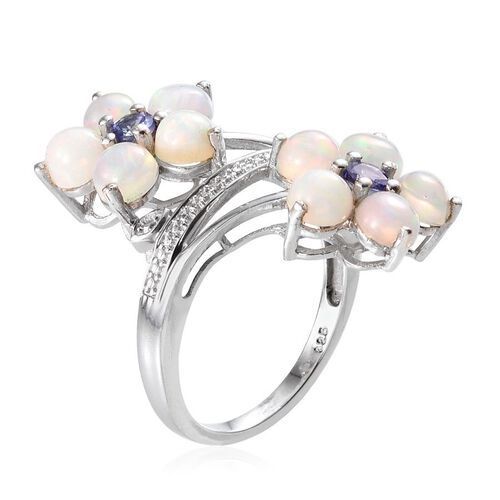Ethiopian Welo Opal (Rnd), Tanzanite Twin Floral Ring in Platinum Overlay Sterling Silver 3.500 Ct.