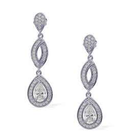 J Francis - Platinum Overlay Sterling Silver (Pear) Drop Earrings Made with SWAROVSKI ZIRCONIA 2.448 Ct.