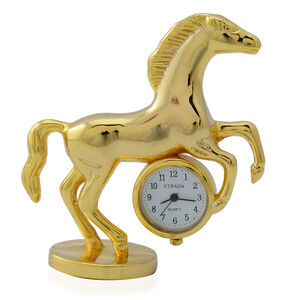 STRADA Japanese Movement White Dial Water Resistant Decorative Horse Table Clock in Gold Tone