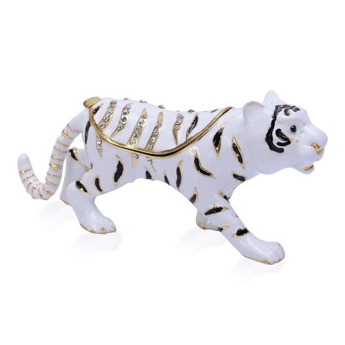 Black and White Austrian Crystal Studded White, Black and Gold Enameled Tiger Trinket Box