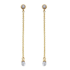 ILIANA 18K Y Gold SGL Certified Diamond (Rnd) (SI/G-H) Dangling Earrings (with Screw Back) 1.000 Ct.