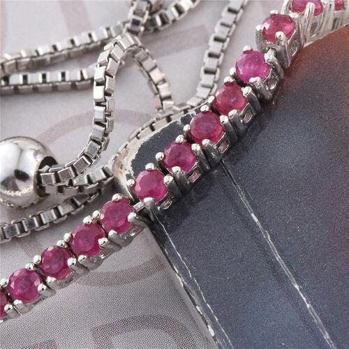 African Ruby (Rnd) Adjustable Bracelet (Size 6.5 to 8) in Platinum Overlay Sterling Silver 2.000 Ct.