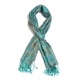 SILK MARK- 100% Superfine Silk Green, Blue and Multi Colour Jacquard Jamawar Scarf with Fringes (Size 180x70 Cm)