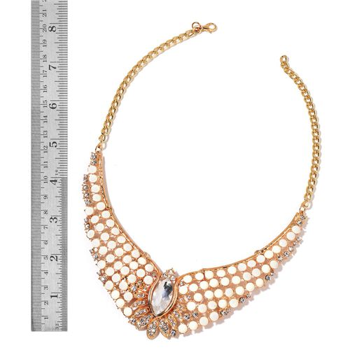 Glamour Edition - Simulated White Diamond, White Austrian Crystal and Simulated Pink Austrian Crystal BIB Necklace (Size 18 with 2 inch Extender) and Hook Earrings in Yellow Gold Tone