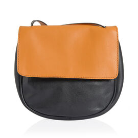 (Last Chance Clearance )Genuine Leather Tan and Black Colour Sling Bag (Size 20 X 22 X 5.5 CM)