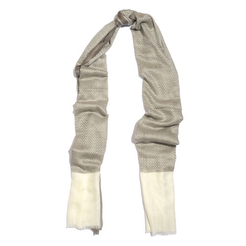 100% Cashmere Wool Neutral Grey Colour Scarf (Size 200x70 Cm)