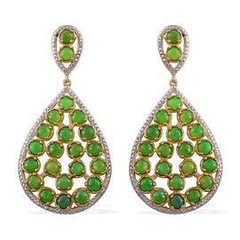 Green Ethiopian Opal (Rnd) Drop Earrings (with Push Back) in 14K Gold Overlay Sterling Silver 9.000 Ct.