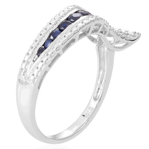Kanchanaburi Blue Sapphire (Rnd) Ring in Rhodium Plated Sterling Silver 0.750 Ct.