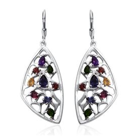 Stefy Iolite (Pear), Rhodolite Garnet, Russian Diopside, Amethyst, Citrine, Mozambique Garnet and Pink Sapphire Lever Back Earrings in Platinum Overlay Sterling Silver 3.750 Ct.