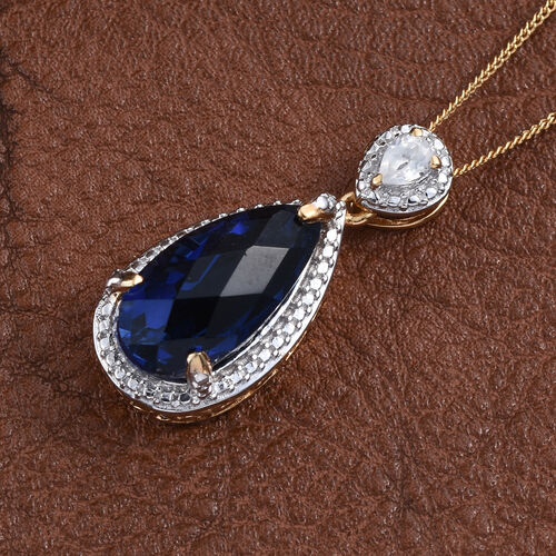 Checkerboard Cut Ceylon Colour Quartz (Pear 6.00 Ct), Natural Cambodian Zircon Pendant With Chain in 14K Gold Overlay Sterling Silver 6.200 Ct.