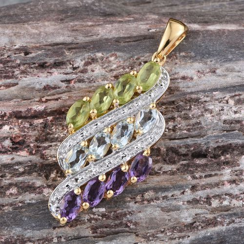 (Option 3) Sky Blue Topaz (Ovl), Hebei Peridot and Amethyst Pendant in 14K Gold Overlay Sterling Silver 2.750 Ct.