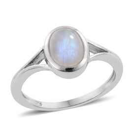 Rainbow Moonstone (Ovl) Solitaire Ring in Platinum Overlay Sterling Silver 1.750 Ct.