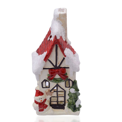 Home Decor - Multi Colour Ceramic House Shape Candle Holder with Tree and Snowman