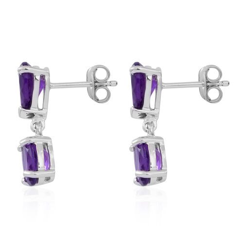 Amethyst (Ovl) Earrings (with Push Back) in Rhodium Plated Sterling Silver 4.000 Ct.