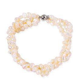 Fresh Water White Pearl (5-6mm) Bracelet (Size 8.5) in Silver Tone