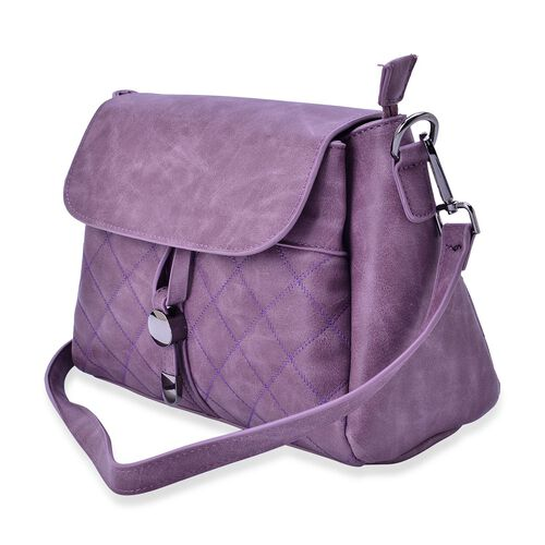 Purple Colour Diamond Cut Pattern Handbag With Adjustable and Removable Shoulder Strap (Size 27.5x21x12 Cm)