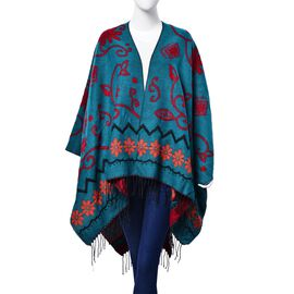 Red and Orange Colour Floral Pattern Green Colour Poncho (Size 130x75 Cm)
