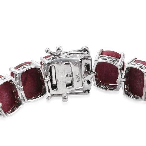 Norwegian Thulite (Cush) Tennis Bracelet (Size 7.5) in Platinum Overlay Sterling Silver 75.000 Ct.