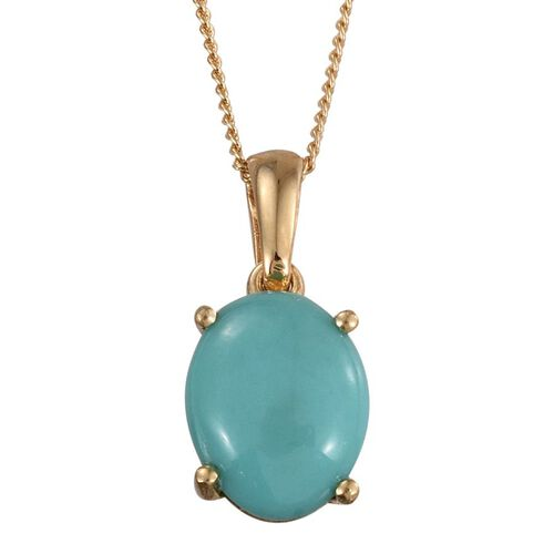 Sonoran Turquoise (Ovl) Solitaire Pendant With Chain in 14K Gold Overlay Sterling Silver 2.250 Ct.