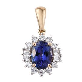 ILIANA 18K Yellow Gold 2.50 Carat AAA Tanzanite Oval Halo Pendant, Diamond SI G-H.