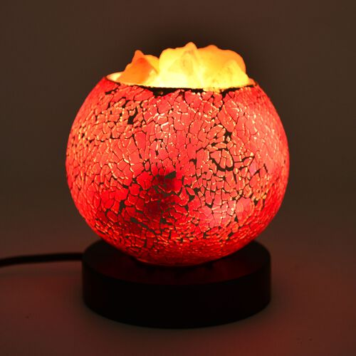 Home Decor - Purple Colour Mosaic Glass Table Lamp with Himalayan Salt on a Metal Base with Electric Fitting