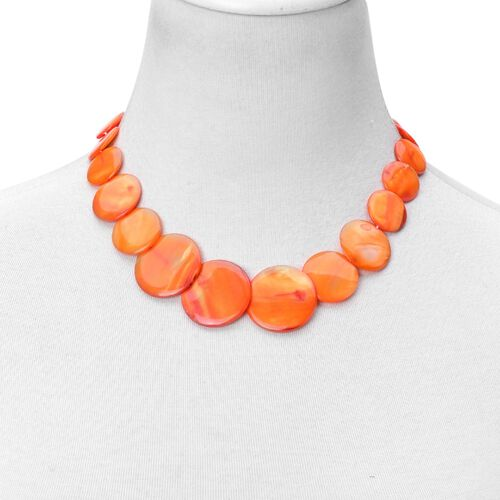 Orange Shell Coin Necklace (Size 21 with Extender), Stretchable Bracelet and Hook Earrings in Stainless Steel