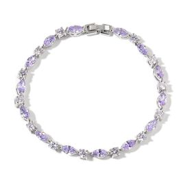 AAA Simulated Amethyst and Simulated White Diamond Bracelet (Size 7.5) in Silver Tone