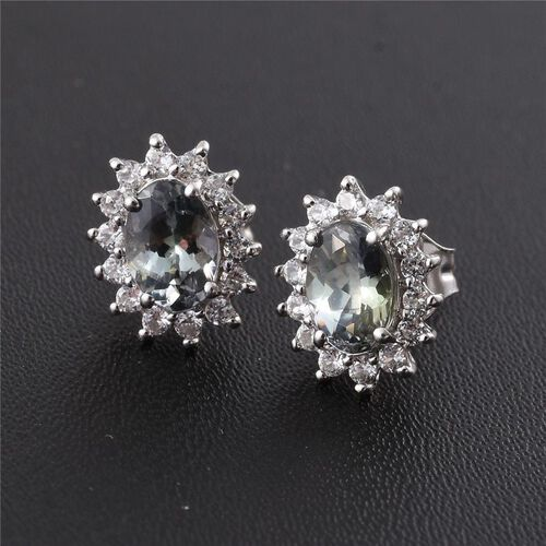 9K White Gold 1.25 ct. AA Natural Green Tanzanite Stud Earrings with  Natural Cambodian Zircon