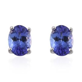 ILIANA 18K White Gold 2 Carat AAA Tanzanite Solitaire Stud Earrings with Screw Back.