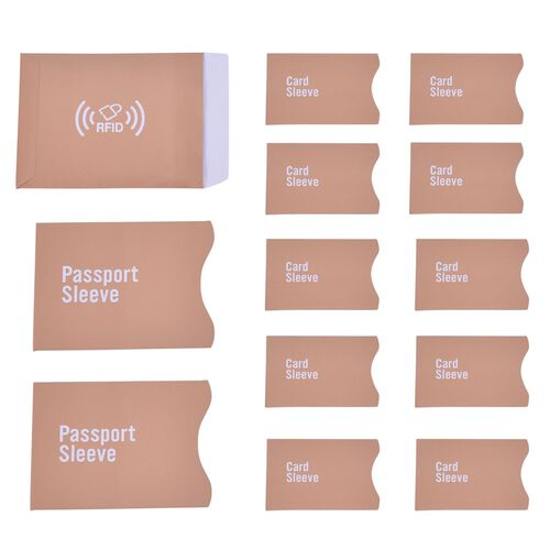 Set of 13 - Chocolate Colour One RFID Card (Size 14.5x11 Cm), Two Passport (Size 13.5x9.8 Cm) and Ten Credit Card (Size 8.8x5.6 Cm) Sleeves