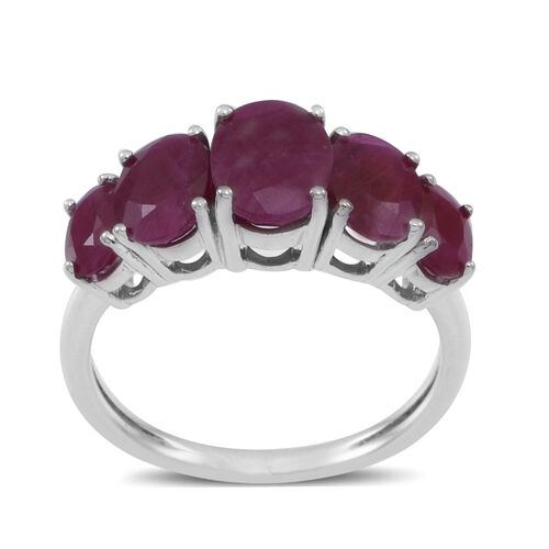 9K W Gold Burmese Ruby (Ovl 1.50 Ct.) 5 Stone Ring 4.500 Ct.