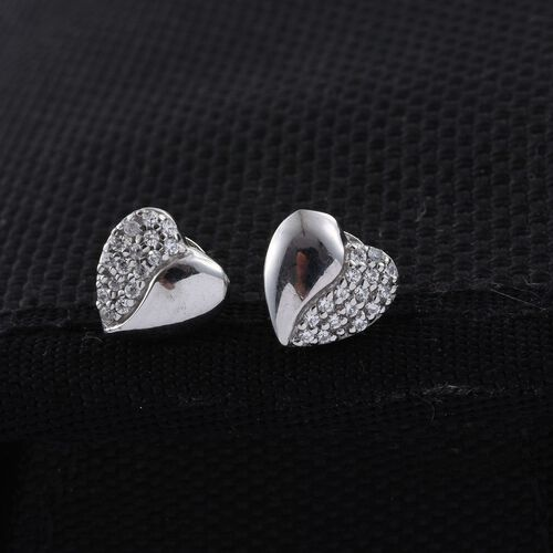 J Francis - Platinum Overlay Sterling Silver (Rnd) Heart Stud Earrings (with Push Back) Made with SWAROVSKI ZIRCONIA