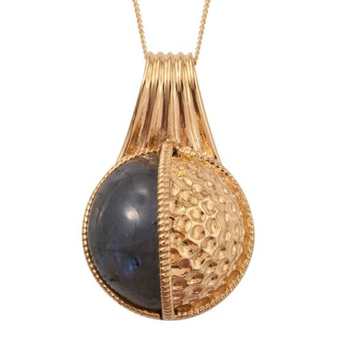 GP Labradorite and Kanchanaburi Blue Sapphire Pendant With Chain in 14K Gold Overlay Sterling Silver 12.020 Ct.