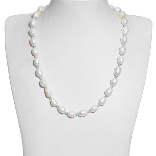 Fresh Water Pearl and Paraibe Apatite Necklace (Size 20) in Silver Tone with Stainless Steel