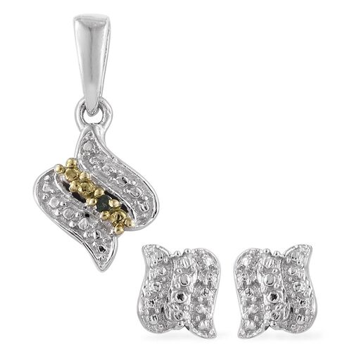 Green Diamond (Rnd) Pendant and Stud Earrings (with Push Back) in Platinum Overlay Sterling Silver