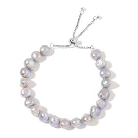 Fresh Water Silver Grey Pearl Adjustable Bracelet in Rhodium Plated Sterling Silver