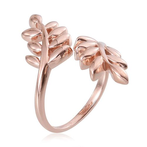 Rose Gold Overlay Sterling Silver Olive Leaves Crossover Ring, Silver wt 4.50 Gms.