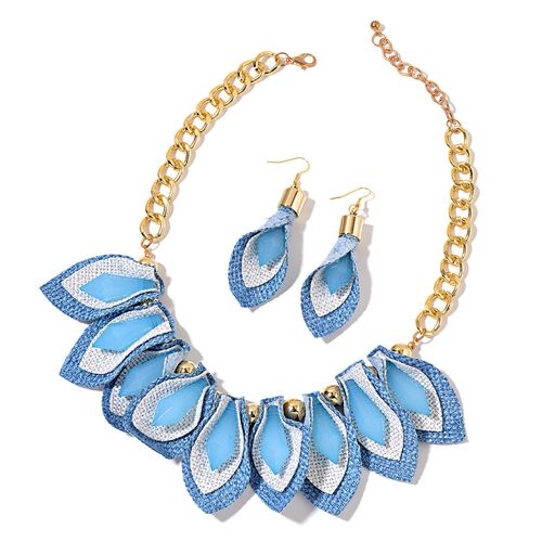 Handcrafted Simulated Aquamarine Calla Lily Inspired BIB Necklace (Size 20 with 2 inch Extender) and Hook Earrings in Yellow Gold Tone with Stainless Steel