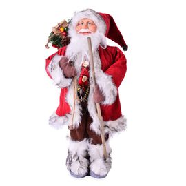 Home Decor - Santa Claus in White and Red Tone Left Hand With Long Stick with Right Hand with Gift Of Bag (Size: 22 x 16 x 46 cm)