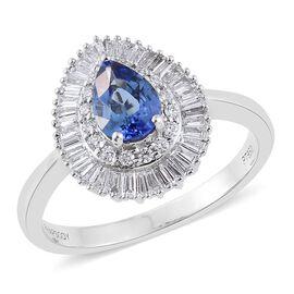RHAPSODY 950 Platinum AAAA Ceylon Blue Sapphire (Pear), Diamond (VS/E-F) Ring 1.250 Ct. Metal wt 5.00 Gms.