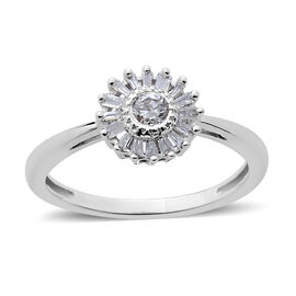 9K W Gold SGL Certified Diamond (Rnd 0.10 Ct) (I3/G-H) Floral Ring 0.250 Ct.