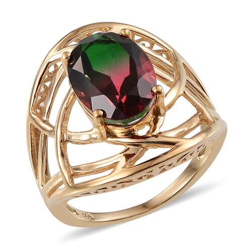 Tourmaline Colour Quartz (Ovl) Solitaire Ring in 14K Gold Overlay Sterling Silver 6.500 Ct.