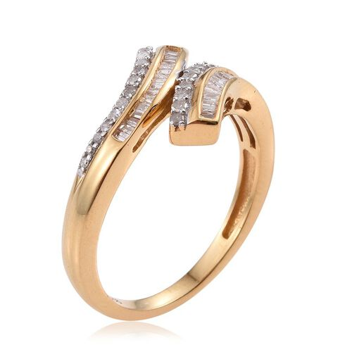 Diamond (Rnd) Crossover Ring in 14K Gold Overlay Sterling Silver 0.330 Ct.