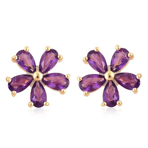 Amethyst (Pear) Flower Stud Earrings (with Push Back) in Yellow Gold Overlay Sterling Silver 2.000 Ct.